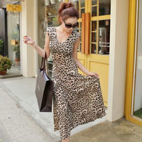 Elastic viscose leopard print sexy full dress beach dress female V-neck slim one-piece dress skirt