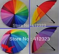 free shipping +cheapest Long handle rainbow Straight umbrella rain umbrellas paraso Citymoon 24k retail