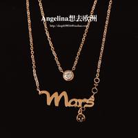 FREE SHIPPING~Jewelry Fashion Titanium Rose Gold Plated 12 Constellation Patron saint Beautiful Choker Necklace