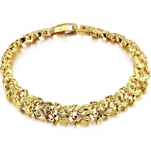 New Luxury woman 18K yellow GOLD GP plated chain heart bracelet for lady,fashion golden bridal wedding Jewelry,free shipping 362(China (Mainland))