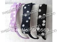 "Multi-Color 3.5"" BabyGirls handmade tuxedo bow hairband Dot grosgrain headband Boutique hairbows B008"