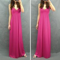 Bohemia full dress one-piece dress fashion solid color V-neck plus size beach dress powder rose