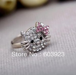 alloy accessories Sweet lovely hello Kitty fashion rings/ jewelry new vintage rhinestone resizable cute HK kt cat finger ring(China (Mainland))