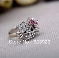 alloy accessories Sweet lovely hello Kitty fashion rings/ jewelry new vintage rhinestone resizable cute HK kt cat finger ring