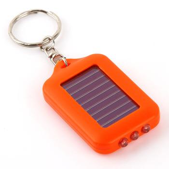 E7648 rectangle solar key light keychain 3 led lighting mini flashlight