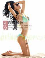 NEW ! beach queen elegant chinese style blue gauze bikini swimwear VS