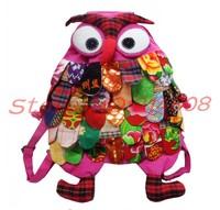 NEW wholesale Handmade BIG OWL Bag/Handmade craft owl bag/kids backpack fashion bag gift free ship 1pcs