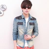 Coo Soo 2013 male fashion water wash vintage retro finishing leather pocket denim long-sleeve shirt c91p65