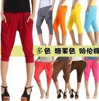 Casual sports pants candy color viscose harem pants