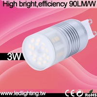 super bright 360Geg 90lm/w 3w g9 led lamp dimmable 3w 2700K  with CE&ROHS 3yrs warranty