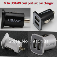 Free DHL 50pcs 3.1A USAMS Dual Port USB Car Charger 5V 3100mah for iPhone4/4S for iPAD1/2 for the new iPad