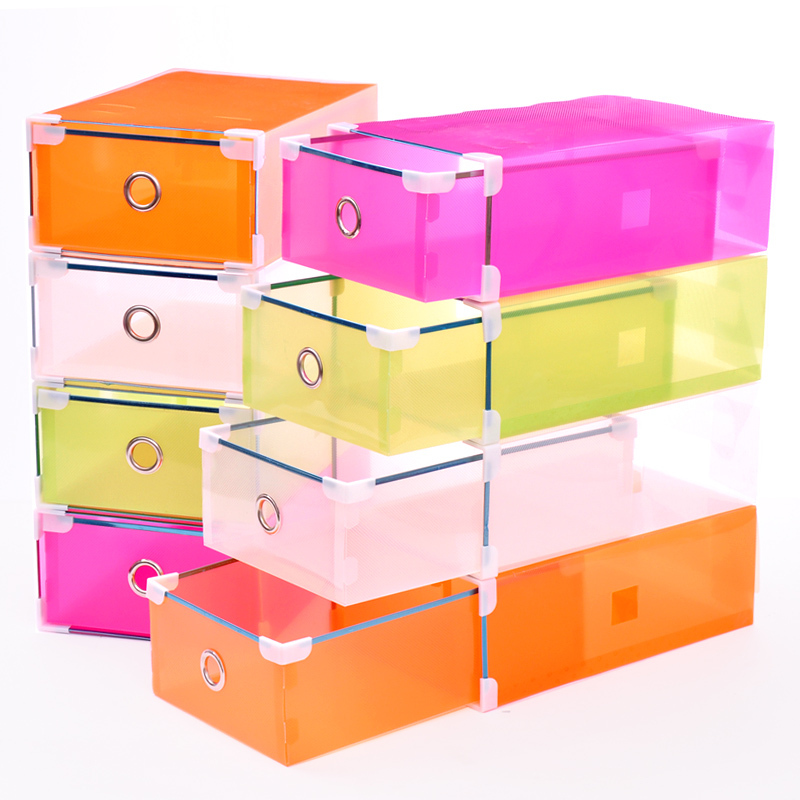 Free Shipping, Thick metal wrapping drawer transparent shoe box storage sundries box d244(China (Mainland))