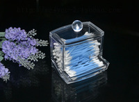 {free shipping}clear acrylic cotton ball stick container box
