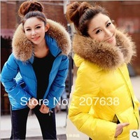 Best Selling!!Women's cotton-padded clothes deeply artificialfur collar Jacket Lady Outwear Warm Winter Coat+free shipping