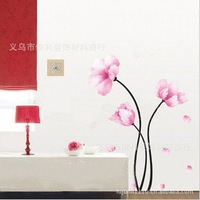 New Arrivals of PVC can be removed 40*60cm beautiful romantic pink flowers sofa / bedroom decoration wall stickers FREE SHIPPING