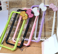 Bling Cell Phone Bumper For iPhone 5, Pearl and Bow Decoration, Green White Pink Purple Black For Option