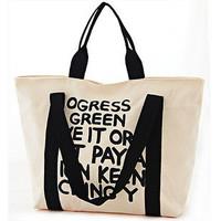 2012 bags women's bag street mix match casual letter canvas bag shoulder bag