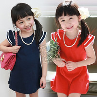 Free Shipping,High Quailty, Girls red, blue skirt,Lace  clothing  (Without necklace),cotton qz-0110 (CC019NQZ0110)