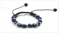 Free Shipping Lapis Lazuli  Shamballa Bracelet, wax cord with blue Lapis Lazuli  beads & rhinestone spacer, 8mm