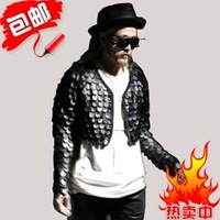 Free shipping  2013 New men spilliness leather jacket non-mainstream personality short leather clothing star