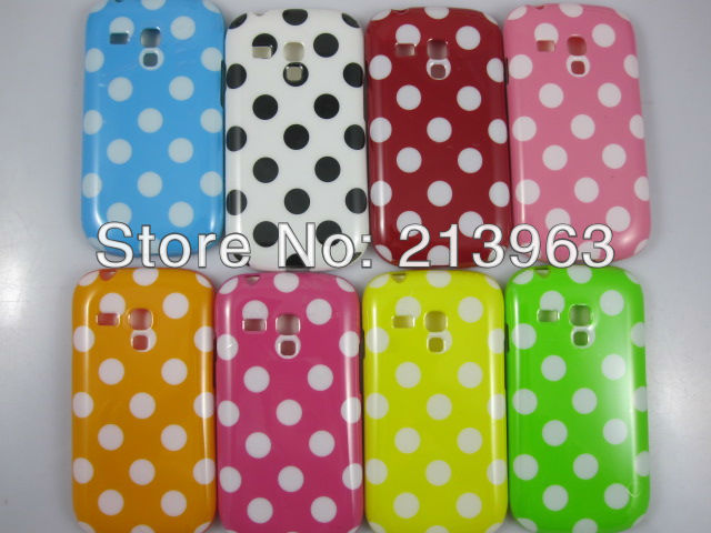 sample retail Soft TPU Gel Rubber Silicion Polka Dot Case For Samsung Galaxy S3 Mini i8190 back skin cover(China (Mainland))
