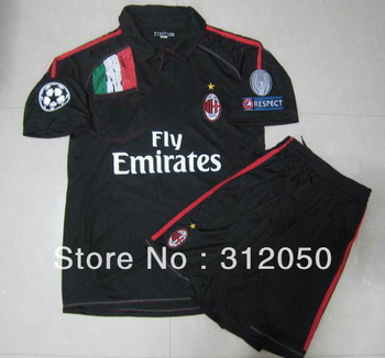 2012 UCL champions league soccer jerseys AC milan away black jersey football unifrom kits  shirts