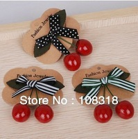 Free shipping,Wholesale fashion red zipper cherry bow hairpin,cute side-knotted clip brooch,female hair accessory,10 pcs/lot