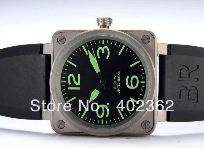 Fashion Men's Mechanical Movement Stainless Steel Watch Aviation Limited Edition Rubber Band Men Watches(China (Mainland))