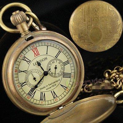 Винтажные механические карманные часы с тремя циферблатами и цепочкой.