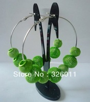 New year gifts High Quality Hot Selling Promotion  Free Shipping basketball wives earrings green color mesh beads earrings