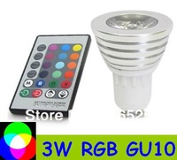 3W RGB Spotligh E27 E14 GU10 MR16 base with remote controller  Free shipping LED bulb RGB Ligh high quality 100pcs