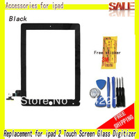 Black Replacement for ipad 2 touch screen digitizer for ipad 2 glass +free tools+free 3M sticker +free shipping By China Post