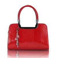 2014  fashion shiny color block women's handbag  crocodile pattern marry and wedding totes  the red bride shoulder bag