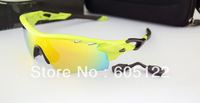 Big Promotion! Sport Sunglasses TR90 Green Frame O LOGO Black Earsocks 5 Exchangeable lens Cycling Googles for Men RADARLOCK