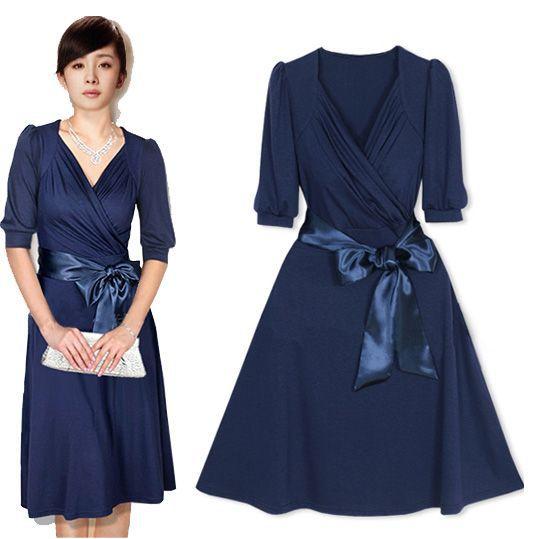 Brilliant New 2013 Autumn Long Sleeve Casual Dress Women Striped Stitching Slim