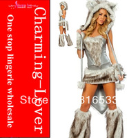 HOT selling deluxe wolf costumes Faux fur animal sexy costumes for adult fancy party costume with foot cover and arm cover