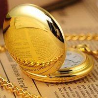 Free shipping Rare Golden Pocket Watch