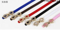 Charming Woman!Hollow Metal Bow Multi-color PU Leather Belt  BL001