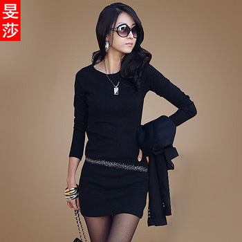 2013 women's winter thickening plus velvet long design basic shirt Long Sleeve diamond Round neck  4 colors cotton dress