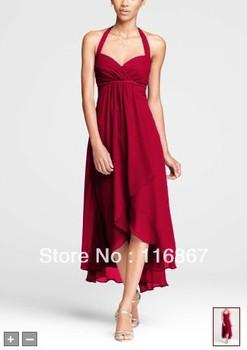 Custom made 2013NEW! Crinkle Chiffon High Low Halter Dress Style F15417 Bridesmaid Dresses
