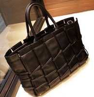 Hot new black woven woman  PU shouler bag two color choice free shipping