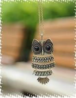 A-0007 fashion accessories vintage owl long necklace 28.8