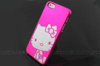 50PCS/LOT  Fashion Cute Silver Hello Kitty Chrome Hard Plastic Case for iPhone 5