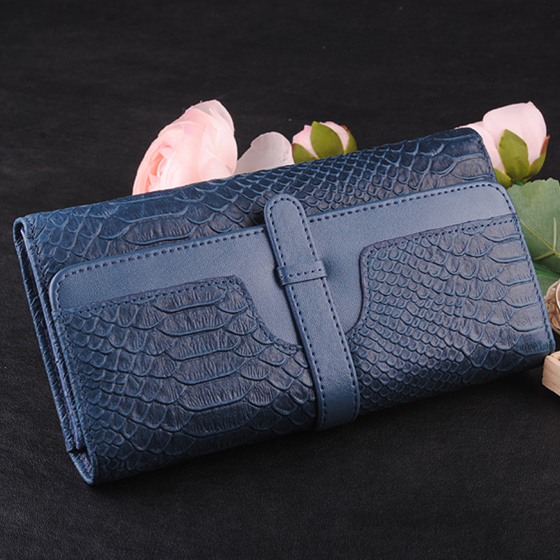 Elegant intellectuality ak soft genuine leather blue genuine leather women's wallet medium-long female wallet purse bag 1228(China (Mainland))