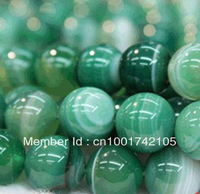 Mini order is 12 USD,10mm Natural green Stripe Agate Onyx Gem  Loose Beads 38 pcs/lot fashion jewelry beads jewelry making
