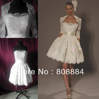 2013 New style knee-length short sweetheart lace appliques with flower feather belt long sleeve jacket real wedding dress