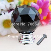 Free shipping 10pcs black  Crystal Glass Cabinet Knob Drawer Pull Handle Kitchen Door Wardrobe
