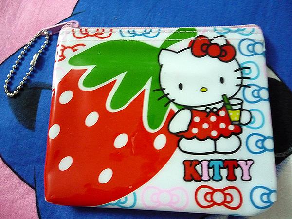 NEW Girls Strawberry Hello kitty PURSE COINS BAG Keychain(China (Mainland))