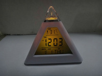 1lot=20pcs Glowing 7-sColor Change LED Digital Triangle Pyramid Alarm desk Clock