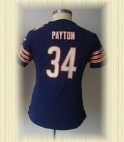 wholesale-Chicago New Women Jerseys 34 Walter Payton Blue Arrived Womens Game Jerseys